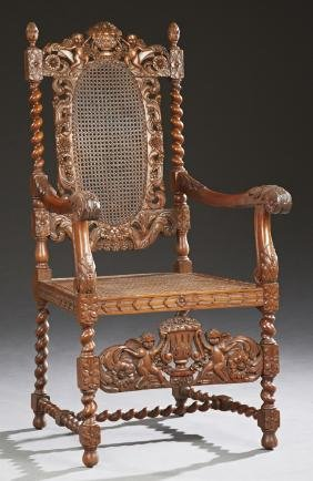 French Henri II Style Carved Walnut Armchair, 19th c.,