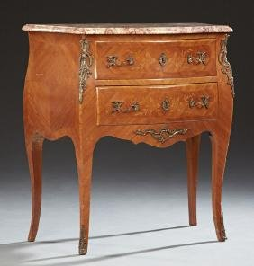 French Louis XV Style Carved Walnut Marquetry Inlaid