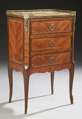 French Louis XV Style Carved Mahogany Parquetry Inlaid