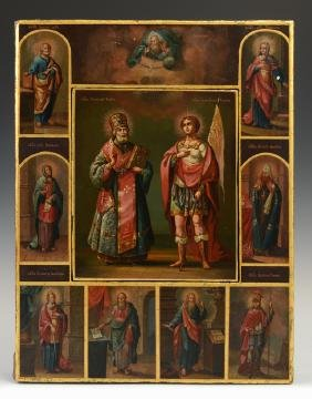 Russian Icon of Saint Nicholas and Saint George,