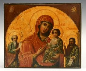 Russian Icon of the Virgin and Child, flanked by Saints
