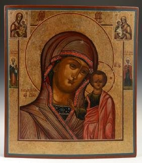 Russian Icon of the Virgin of Kazan, 19th c., oil on