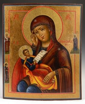 Russian Icon Of The Virgin And Child, Early 19th C.,