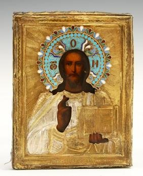 Russian Icon of Christ, Moscow, 1896-1908, with a gilt
