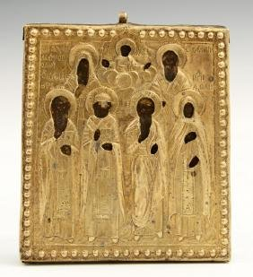 Russian Icon of Selected Saints, 19th c., with a silver