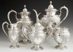 Five Piece Sterling Tea and Coffee Service, 20th c., by