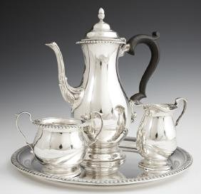 Four Piece Sterling Tea Service, c. 1900, by Lawrence