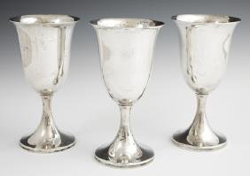 Set of Three Sterling Goblets, early 20th c., by