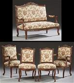 French Louis XV Style Carved Walnut Five Piece Parlor