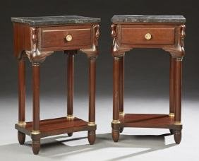 Pair of Empire Style Carved Mahogany Marble Top