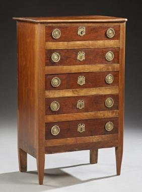 French Louis XVI Style Carved Walnut Marble Top Chest,