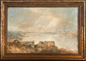 "English School, ""Coastal Seascape,"" 19th c., oil on"