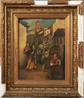 "French School, ""Spanish Street Vendors,"" 19th c., oil"