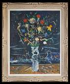 """American School, """"Abstract Still Life of Flowers in a"""