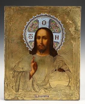 Russian Icon of Christ Pantocrator, 1867, Moscow, with