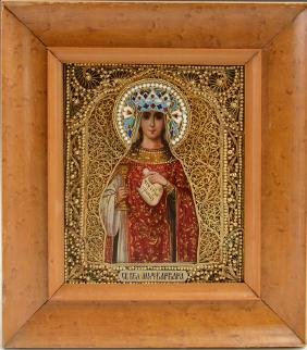 Russian Icon of Saint Barbara, Moscow, late 19th c.,