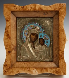 Russian Icon of the Virgin of Kazan, Moscow, 1866, with