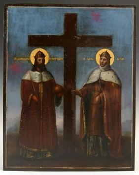 Russian Icon of Saints Konstantine and Helena, 19th c.,