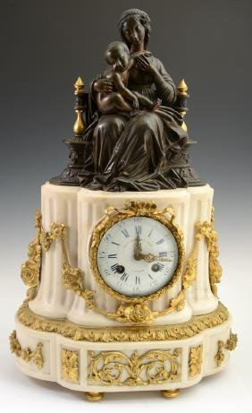 French Bronze and Marble Mantel Clock, 19th c.,