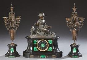Black Marble, Bronze and Malachite Three Piece Clock