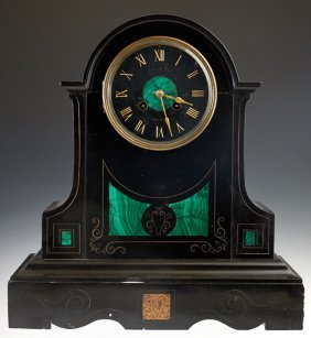 French Black Marble and Malachite Mantle Clock, 19th