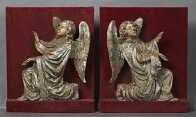 Pair of Carved Wooden Relief Angels, 18th c., with