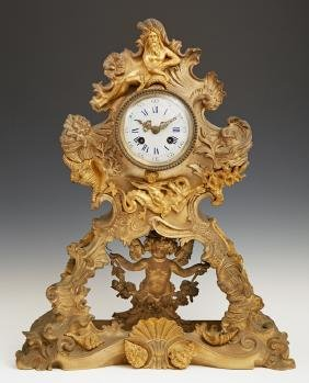 French Gilt Bronze Mantle Clock, early 19th c., by