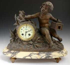French Patinated Spelter Mantle Clock, 19th c., with a