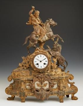 French Gilt Spelter Mantle Clock, 19th c., with a