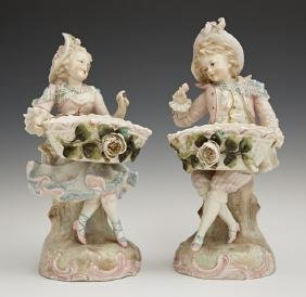 Pair of Dresden Style Porcelain Figural Sweetmeats