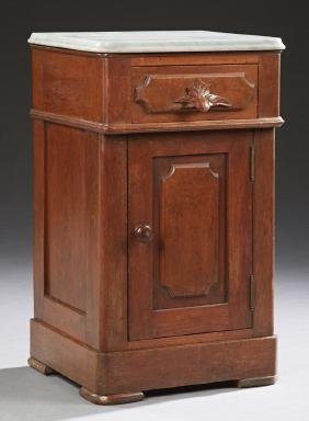 American Carved Walnut Marble Top Nightstand, C. 1880,