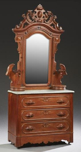 American Victoria Carved Walnut Marble Top Dresser, c.