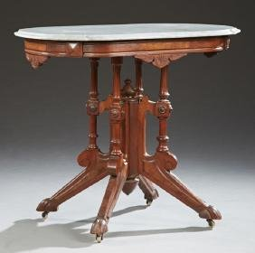 American Victorian Carved Walnut Marble Top Center