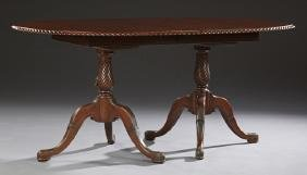 English Chippendale Style Carved Mahogany Dining Table,