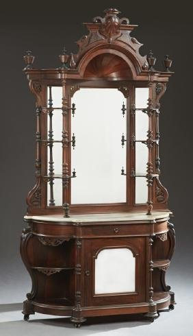 American Victorian Carved Rosewood Etagere, c. 1860,
