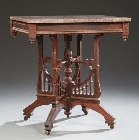American Eastlake Carved Mahogany Marble Top Table, c.