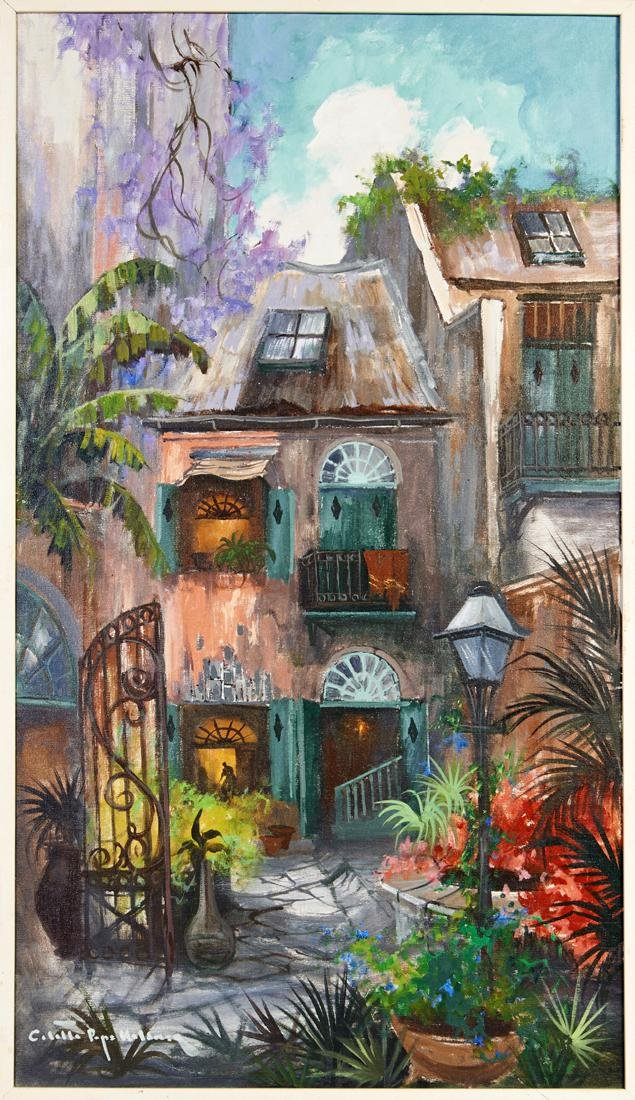 """Colette Pope Heldner (1902-1990, New Orleans), """"Patio"""