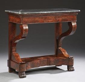 French Restauration Style Carved Mahogany Marble Top