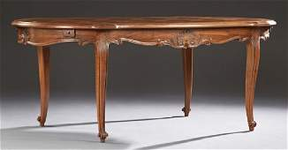 French Louis XV Style Carved Walnut Dining Table, early