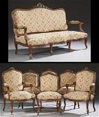 French Louis XV Style Carved Walnut Seven Piece Parlor
