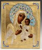 Russian Icon of the Virgin 19th c with an enamel and
