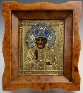 Russian Icon of Saint Nicholas, Moscow, 1908-1917, with