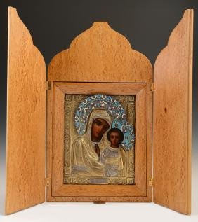 Russian Icon of the Virgin of Kazan, Moscow, 1908-1917,