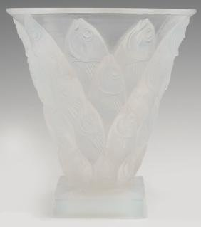 Sabino Glass Opalescent Poissons Fish Vase, 20th c.,