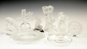 Group of Nine Pieces of Lalique Crystal, 20th c.,