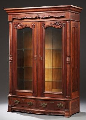 American Victorian Carved Mahogany Armoire, c. 1880,