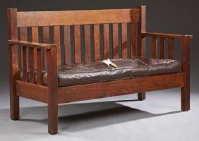 Mission Oak Settee, early 20th c., possibly Stickley,
