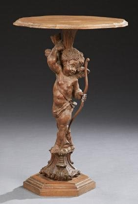 French Style Carved Mahogany Figural Lamp Table, early