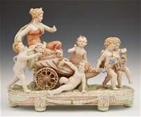 Large Meissen Style Polychromed Porcelain Figural