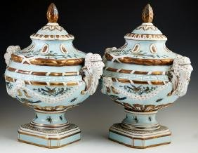 Pair of Continental Style Covered Porcelain Urns, 20th